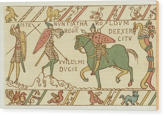 Battle Of Hastings A Sentinel Tells Wood Print by Mary Evans Picture Library