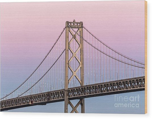 Bay Bridge Lights At Sunset Wood Print