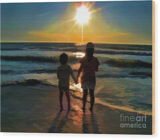 Beach Kids Wood Print
