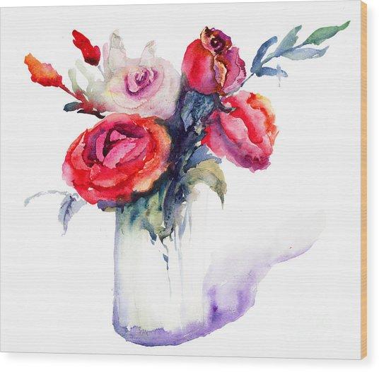 Beautiful Roses Flowers Wood Print