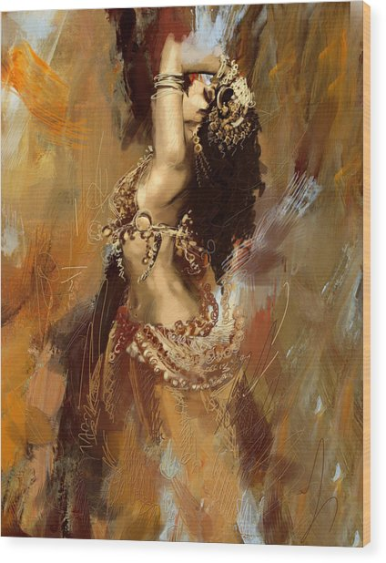 Abstract Belly Dancer 17 Wood Print
