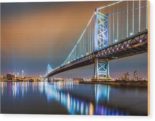 Ben Franklin Bridge And Philadelphia Skyline By Night Wood Print
