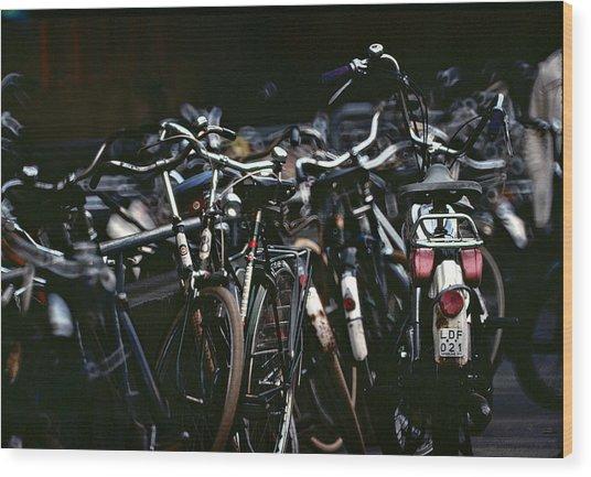 Bicycle Parking Wood Print
