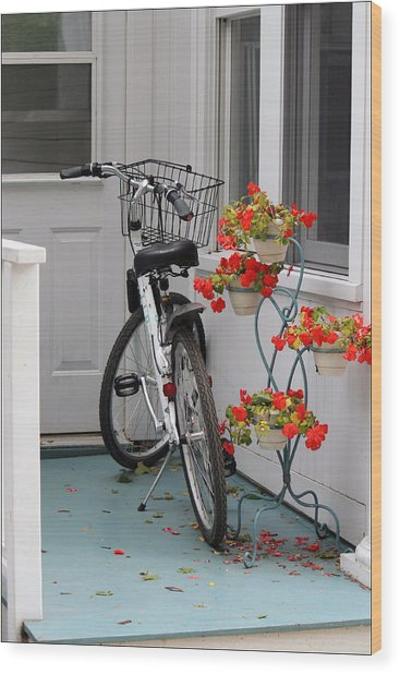 Bicycles And Geraniums Wood Print