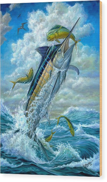 Big Jump Blue Marlin With Mahi Mahi Wood Print