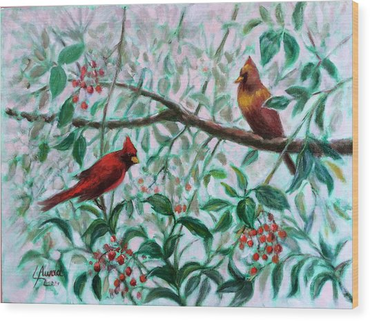 Birds In Our Garden Wood Print