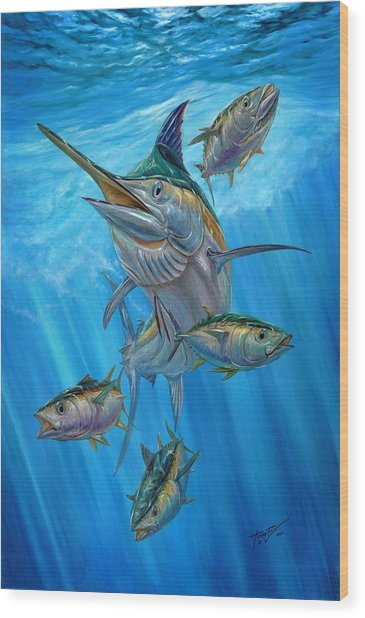 Black Marlin And Albacore Wood Print