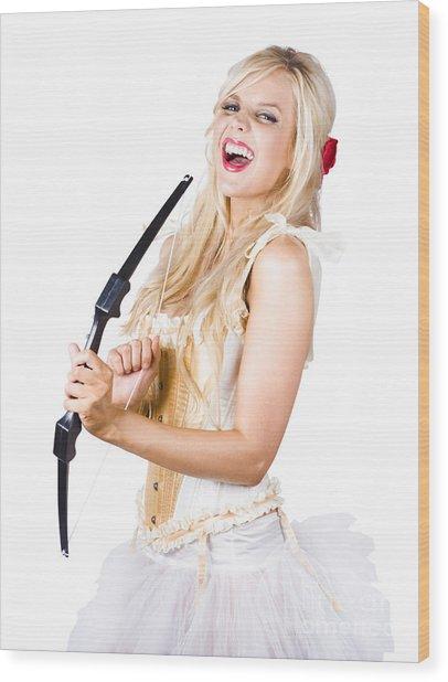 Blond Beauty Cupid Firing Love Arrow Wood Print