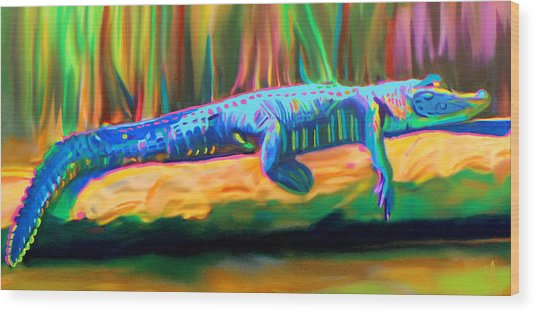 Wood Print featuring the painting Blue Alligator by Deborah Boyd