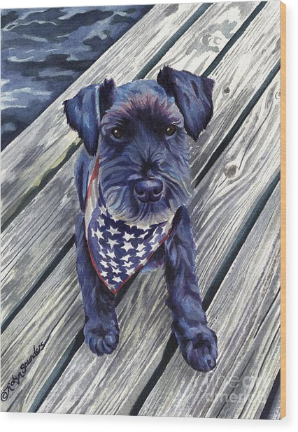 Black Dog On Pier Wood Print