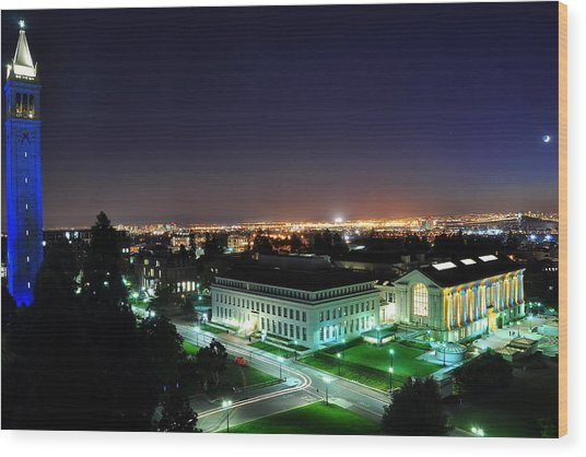 Blue Campanile And Doe Library Wood Print