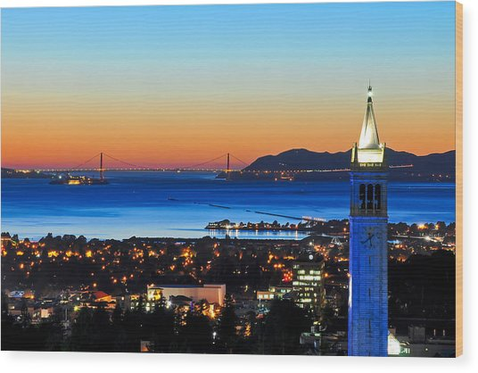 Blue Campanile And Golden Gate At Sunset Wood Print