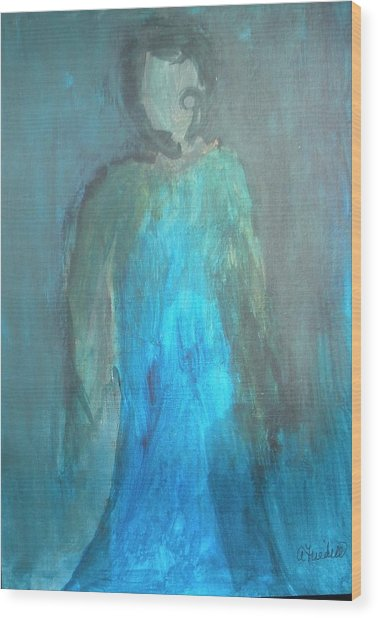 Blue Lady Wood Print by Andrea Friedell