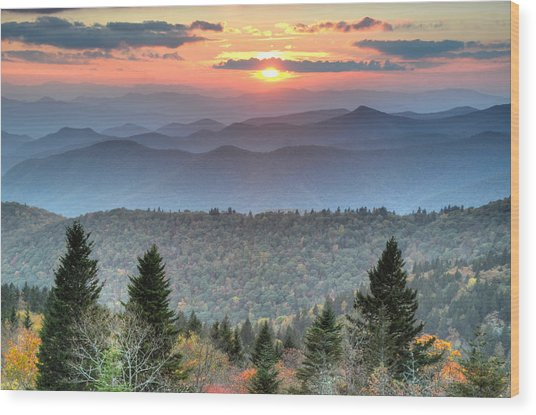Blue Ridge Mountains Sunset Wood Print by Mary Anne Baker