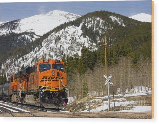 Bnsf Rolls Through Rollins Pass Colorado Wood Print