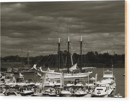Boat On The River Wood Print by Jocelyne Choquette