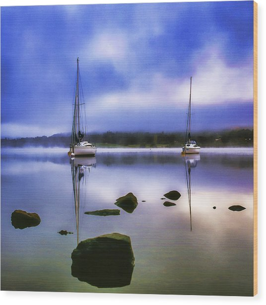 Boats On Ullswater Wood Print