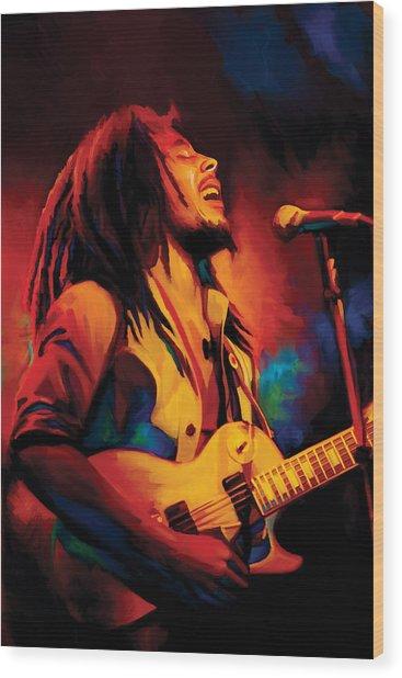 Bob Marley Artwork Wood Print