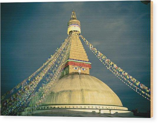 Bodhnath Stupa At Night In Kathmandu Wood Print