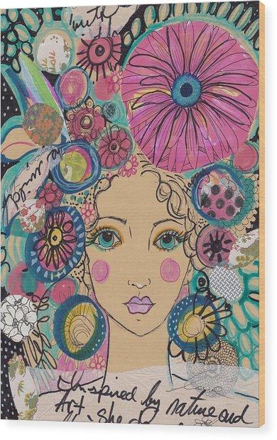 Boho Flower Girl  Wood Print