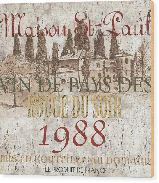 Bordeaux Blanc Label 1 Wood Print