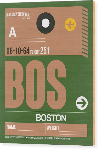 Boston Luggage Poster 1 Wood Print