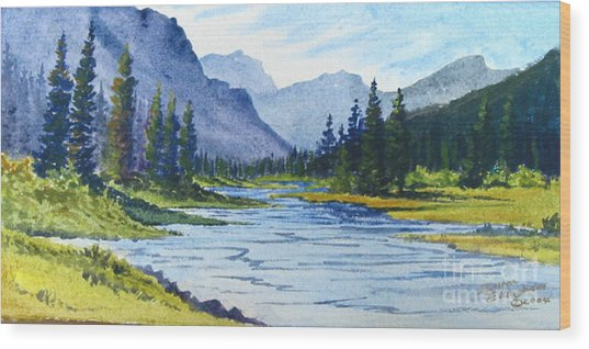 Bow River Wood Print