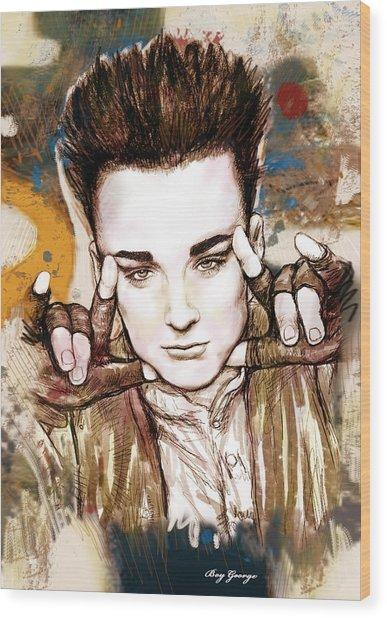 Boy George Stylised Drawing Art Poster Wood Print