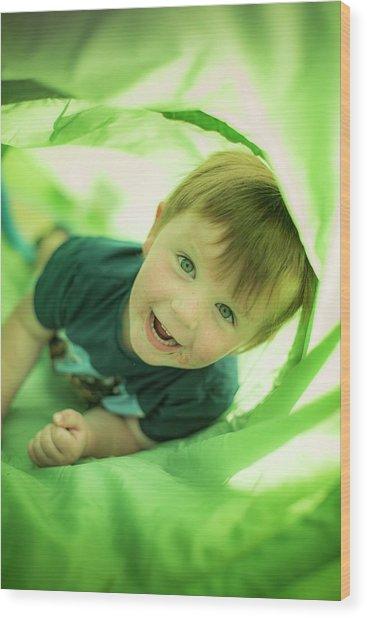 Boy In Green Tunnel Wood Print by Samuel Ashfield