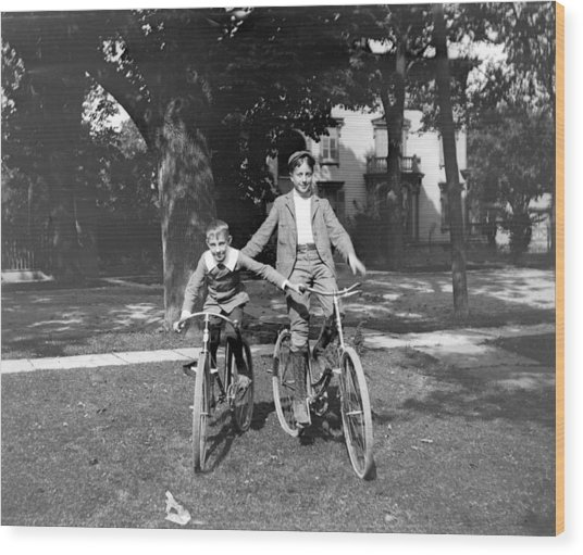 Boys And Bikes Wood Print