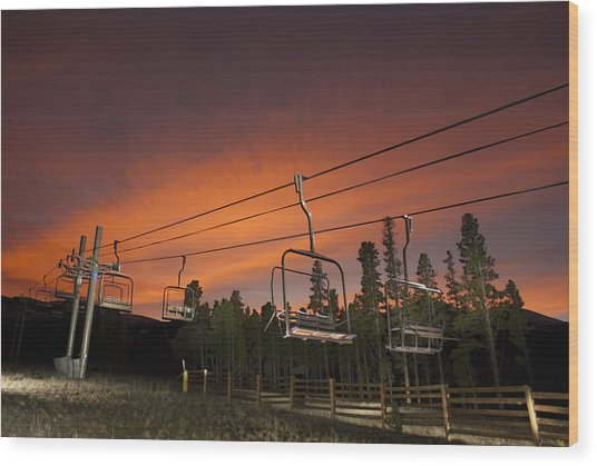 Breckenridge Chairlift Sunset Wood Print