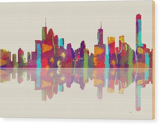 Brisbane Australia Skyline Wood Print