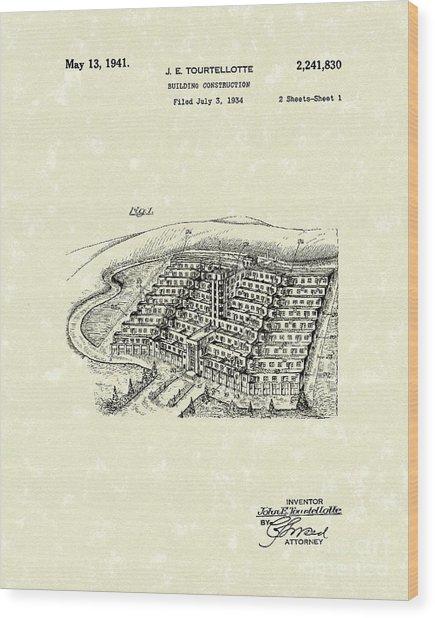 Building Construction 1941 Patent Art Wood Print by Prior Art Design