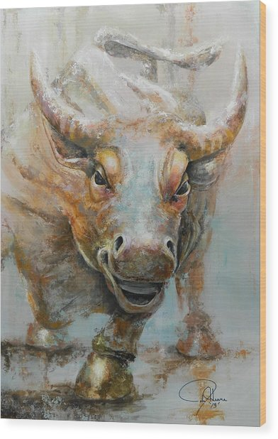 Bull Market W Redo Wood Print