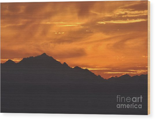 Burning Sky Wood Print