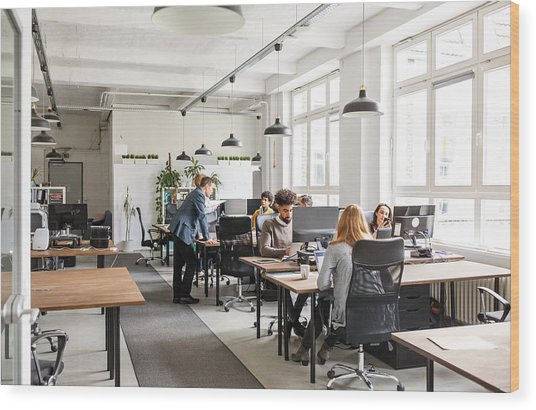 Business People Working In Modern Office Space Wood Print by Alvarez