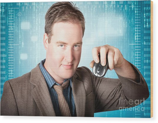 Businessman Searching Internet With Wireless Mouse Wood Print