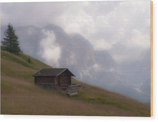 Cabin In The Dolomites Wood Print