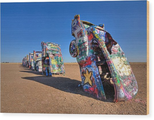 Cadillac Ranch Wood Print by Peter Tellone