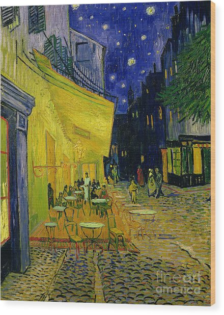 Cafe Terrace Arles Wood Print