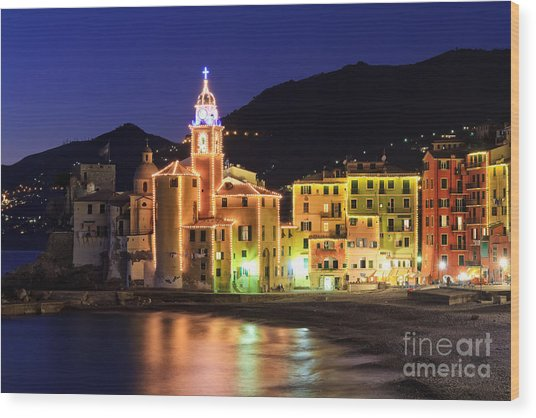 Camogli At Evening Wood Print