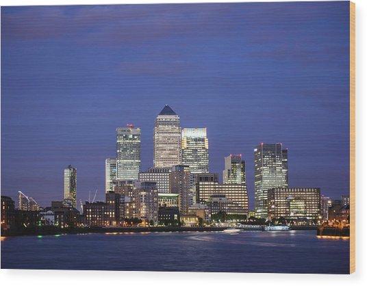 Canary Wharf At Twilight, London, U.k Wood Print