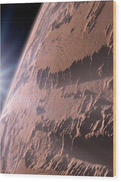 Canyons On Mars Wood Print by Detlev Van Ravenswaay