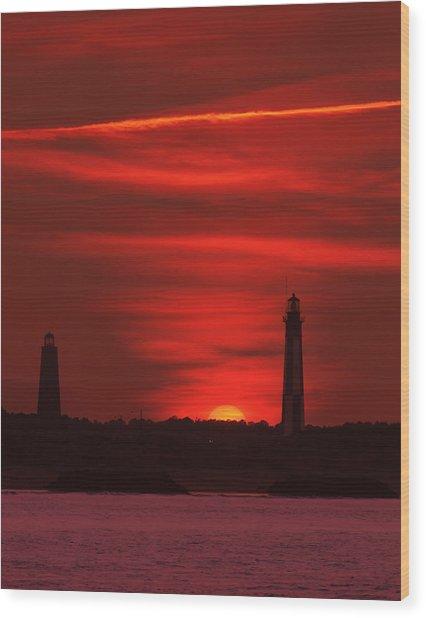 Cape Henry Lighthouses  Wood Print