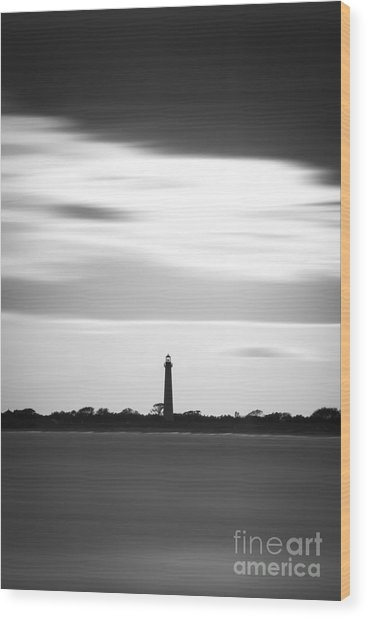Cape May Lighthouse Vertical Long Exposure Wood Print