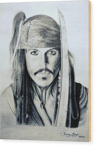 Johny Depp - The Captain Jack Sparrow Wood Print by Tanmay Singh
