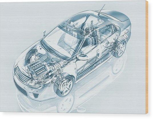 Car, Artwork Wood Print by Leonello Calvetti