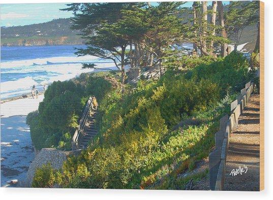 Carmel Beach Stairway Wood Print