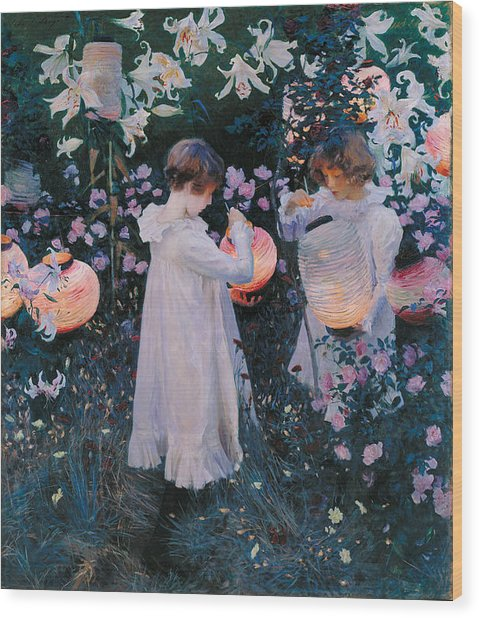 Wood Print featuring the painting Carnation Lily Lily Rose by John Singer Sargent