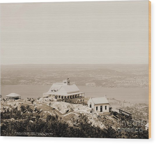 Casino At The Top Of Mt Beacon In Sepia Tone Wood Print